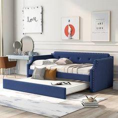 Sofa Bed Wood, Sofa Bed Blue, Sofa Bed Frame, Couch, Bed Frames, Sofa Bed With Trundle, Trundle Mattress, Daybed Bedding, Upholstered Daybed