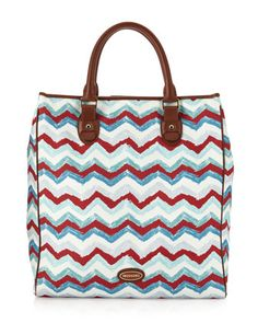 North-South Zigzag Canvas Tote, Bianco/Rosso by Missoni at Last Call by Neiman Marcus.