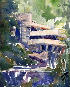 architecture watercolor Fallingwater Frank Lloyd by bleuherron, $23.00