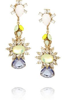 Bijoux Heart Gold-plated, Swarovski crystal and tanzanite earrings | NET-A-PORTER