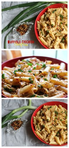 *Buffalo Chicken Cheesy Penne* ~ Chicken and penne pasta tossed in a Spicy, Cheesy and Creamy Buffalo Sauce is tossed for an irresistibly delicious dish ready in 30 minutes! Recipe: http://ticklethosetastebuds.blogspot.co.uk/2015/03/buffalo-chicken-cheesy-penne.html#more