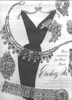 1960 Eisenberg jewelry ad ''Basic necessity for Basic Black''