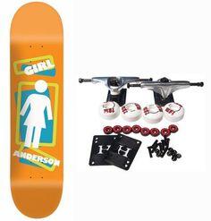 "GIRL SKATEBOARDS Complete Skateboard ANDERSON SCRAMBLED OG 8.37 by Girl. $62.99. GIRL Complete Skateboard Features Anderson Scrambled OG Deck, Size 8.37"". Complete components include Core Trucks, 52mm TGM Goth Logo Wheels, Amphetamine Abec 5 Bearings, Black Diamond Griptape, 1"" Hardware and 1/8"" risers."
