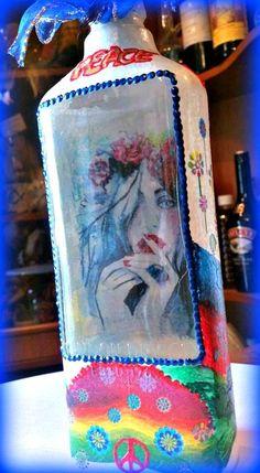 ON SALE 1 Interior design trend bar decoration decoupaged recycled hippie boho bottle love peace original Christmas gift altered bottle Altered Bottles, Handmade Items, Handmade Gifts, Happenings, Hippy, Boho Decor, Hippie Boho, Peace And Love, Fall Decor