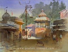 Kai Fine Art is an art website, shows painting and illustration works all over the world. Watercolor Landscape Paintings, Gouache Painting, Watercolor And Ink, Indian Art Paintings, Easy Paintings, Sharpie Drawings, Urban Sketching, Fine Art, Village Photography