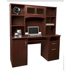 Computer Desk With Hutch Cherry Workstation Home Office Furniture