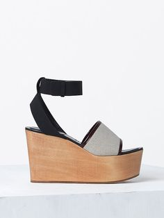 Celine 2014 spring 100MM SANDAL CLOG IN CREPE FABRIC BLACK, BRUSHED CALFSKIN BORDEAUX & COTTON FABRIC NATURAL