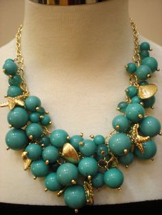 Turquoise & Gold Bib Necklace by JewelrybyMaitri on Etsy...    LOVE~~