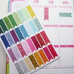 32 Glitter Long Page Flag Die-Cut Stickers // (Perfect for Erin Condren Life Planners) on Etsy, $6.95