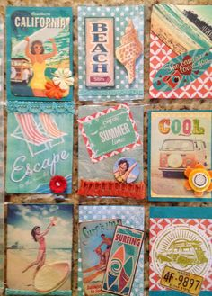 Retro Beach Pocket Letter | Flickr - Photo Sharing! Pocket Pal, Pocket Cards, Pocket Scrapbooking, Scrapbook Cards, Fun Mail, Project Life Cards, Atc Cards, Collage, Pocket Letters
