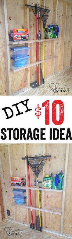Love this DIY Shed Organization idea! Affordable shelving that will save space in your shed.