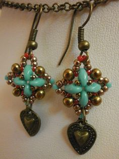 superduo earrings;  cute idea for charms at bottom.