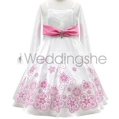 Pretty A-line Spaghetti Straps Floor-length Pattern &Sash Flower Girl Dress(Free Shipping)