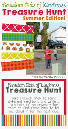 Random Acts of Kindness Treasure Hunt!! This looks like so much fun! And a great way to treat your kids compassion and to think of others!! #rak #treasurehunt #timewithkiddos