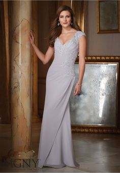 Evening Gowns and Mother of the Bride Dresses by MGNY Beaded Lace Appliques on Chiffon Colors available: Slate, Eggplant, Silver