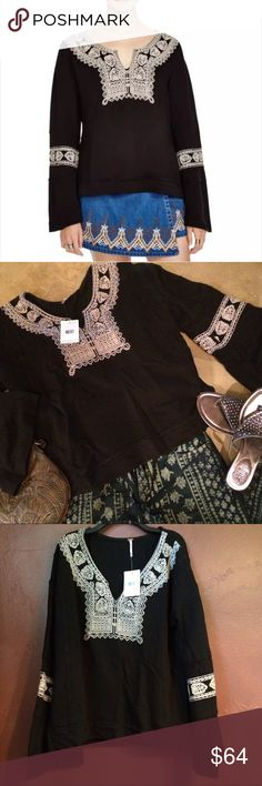 Free People Black Embroidery Pullover Top Blouse M 🚫No offers - Price firm. 💕✔️Bundle and save!  Boho chic Black Embroidered Blouse Top 100% Cotton thick knit Side Slits Manufacturer: Free People Retail: $148.00 Condition: New with tags Style Type: Blouse Collection: Free People Sleeve Length: Bell Sleeves Material: 100% Cotton Size: Medium, inquire for measurements.  See separate listings for size XS and S.  Ribbed Thick Knit, Embroidered Pullover with Side slits Free People Tops
