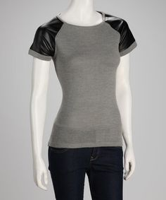 Take a look at this Gray & Black Short-Sleeve Sweater by YAL on #zulily today!  $26.99