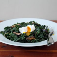 Miso-Glazed Kale with Shiitakes and Poached Egg