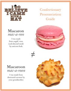 macaron vs. macaroon....from the many debates I've had over this..proof positive that I'm right. Haha.