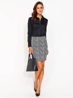 Image for Spot Zip Back Pencil Skirt from Portmans