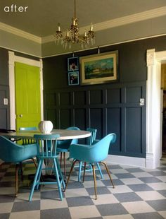 Great features in this room flip - color pallete not what I would do if I were selling soon (not very neutral with the green) but personally love the look. The added wainscoting, built in bookcase & bench add interest & upgrade the feel of the room so much. Check out more of the flip from D*S.