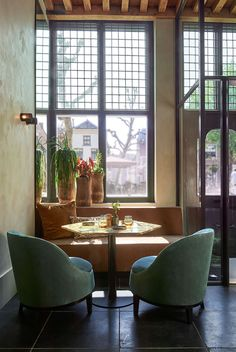 Two years ago, chef Annemiek Wils and Studio Piet Boon created a local dining experience with global allure in Oudewater's most beautiful building. Interior Design Color Schemes, Colour Schemes, Coffee Mugs With Logo, Pub Interior, Stone Flooring, Design Projects, Love Seat, Armchair, Furniture Design