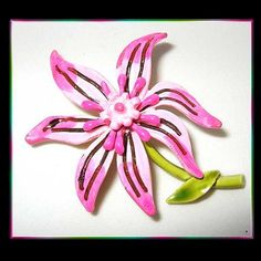 Flower Pin Big Pink Lily Brooch Signed ART 1960s Vintage Jewelry   http://www.greatvintagejewelry.com/inc/sdetail/flower-pin-big-pink-lily-brooch-signed-art-1960s-vintage-jewelry-/6138