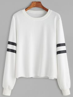 ROMWE - ROMWE Striped Sleeve Raw Hem Sweatshirt - AdoreWe.com