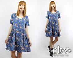 #Vintage #90s #Grunge Blue #Floral Mini #Dress, fits M/L by #shopEBV https://www.etsy.com/listing/187211838/vintage-90s-grunge-blue-floral-mini via @Etsy #etsy #fashion #style #summer, $48.00