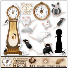 INSTANT DOWNLOAD Hickory Dickory Dock set 1 by IrrationalArts, $4.95