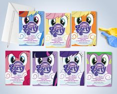 My Little Pony Printable Invitations - Pony Theme Party, My Little Pony Invites, Edit & Print as many copies as you like My Little Pony Cumpleaños, Fiesta Little Pony, My Little Pony Birthday, Printable Cards, Printable Invitations, Printables, Invitation Ideas, Rainbow Dash, As You Like