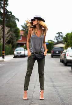Grey and khaki.