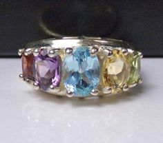 Sterling Silver Ring Multi Gemstone 925 Band Birthstone 5 stone Fashion Designer #Unknown #Cocktail