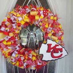 A custom made Kansas City Chiefs ribbon wreath!