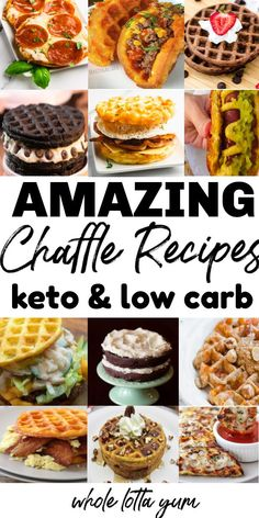 16 Best Keto Chaffles ~ Dessert, Savory & Breakfast Chaffle Recipes Keto chaffles are the new favorite ketogenic must know recipe. Check out these 16 amazing keto chaffle recipes that are savory, for dessert, or breakfast! Desserts Keto, Keto Friendly Desserts, Keto Snacks, Dessert Recipes, Easy Snacks, Savory Breakfast, Low Carb Breakfast, Breakfast Frittata, Breakfast Bars
