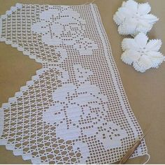 Crochet Lace Edging, Crochet Borders, Crochet Chart, Filet Crochet, Crochet Doilies, Easy Crochet, Crochet Pillow Cases, Crochet Curtains, Handmade Greetings