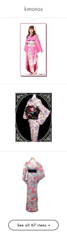 """kimonos"" by puddingpoppanda ❤ liked on Polyvore featuring kimono, accessories, kiku, intimates, angelic pretty, dresses, robes, floral silk robe, silk flower robe and long silk robe"