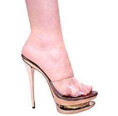 8cb371698ee 6 Inch Bertina Stiletto Heel Platform w  Rhinestones Bronze Clear High Heels