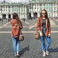 Polina B. - Brandy Melville Usa Plaid Shirt, Brandy Melville Usa Ceoped Top, Topshop Mom Vintage Jeans, Vans Sneakers, Mark Jacobs Bag - St. Petersburg