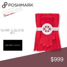 🔜Cable Knit Scarf & Glove Set 2-Piece Braid Cable Scarf and Solid Gloves gift set.  Braid Cable Scarf with fringe detail and Gloves.  Scarf: 68 x 10 inches.  fabric & care  100% Soft Acrylic.  Hand Wash Cold.  Imported. New York & Company Accessories Scarves & Wraps