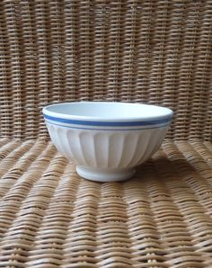 Reserved to SHUWA: French Bowl Cafe au Lait Bowl - White and blue bowl on Etsy, Sold