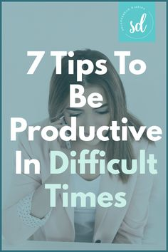 Is your productivity taking a hit? When times are tough, it's easy to procrastinate working on your business. Here are 7 tips that will help you stay productive so that you can grow your business even in difficult times. | Business Productivity Tips #timemanagement #productivity #productivitytips Times Business, Business Goals, Focus On Yourself, Growing Your Business, Losing You, Getting Things Done, It's Easy, Time Management, Productivity