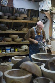 Wood-turner Ron Thompson creates fine wooden vessels at his mountain studio in Alarka near Bryson City, NC.