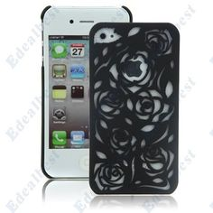 $5.84 Hollow Out Rose Flower Case Cover For iphone 4S(Black) Edealbest.com