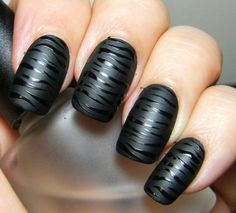 WOW! Shiny Black on Matte Black, ZEBRA Nails. <3 <3 <3