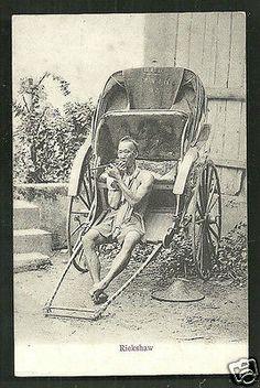 Singapore Chinese Rickshaw Puller smoking Pipe Lambert 1906