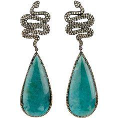 Sara Weinstock Paraiba Tourmaline & Diamond Snake Earrings ($13,580) ❤ liked on Polyvore