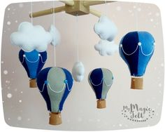 Aire caliente móvil bebé globos nubes móviles bebé por MyMagicFelt