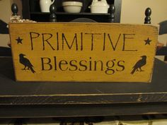 Primitive Blessings Crow Sign by DaisyPatchPrimitives on Etsy, $10.00
