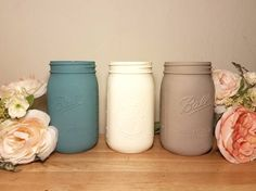 Check out this item in my Etsy shop https://www.etsy.com/listing/506660442/set-of-three-blue-and-grey-mason-jars